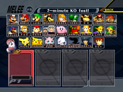 Super Smash Bros Melee personnages jouables