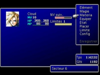 Final Fantasy VII menu