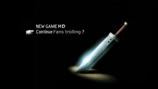 Remake de Final Fantasy VII écran accueil troll