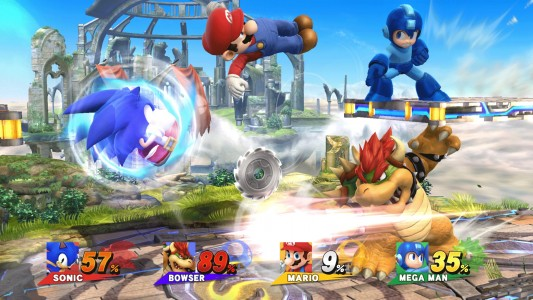 Super Smash Bros for Wii U Mario Bowser Sonic et Megaman s'affrontent