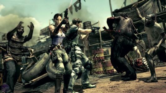 Resident evil 5 Chris et Sheeva entourés par des zombies