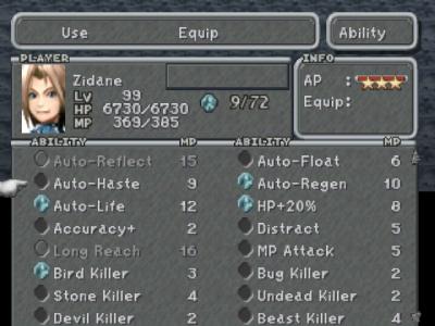 Final Fantasy IX écran compétences magikolithes
