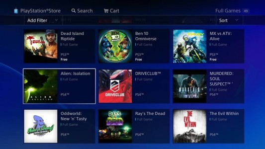 PlayStation Store PS4 jeux