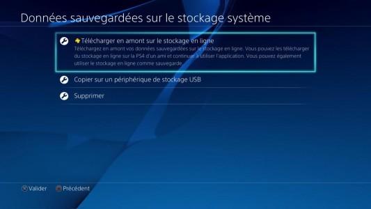 Sauvegarde en ligne PlayStation 4