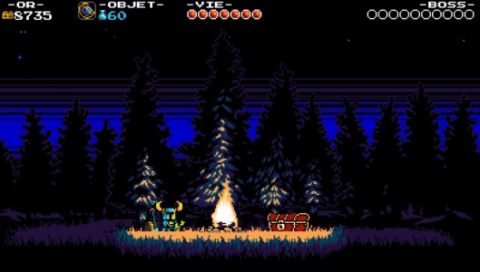 Shovel Knight Trophée Platine Band of Geeks feu de camp