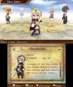 L'écran de sélection du personnage principal
