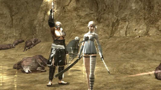 Nier Kainé NieR et Emil devant des cadavres de loup