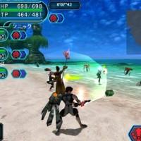 Jeu en coopération sur une plage dans Phantasy Star Online 2