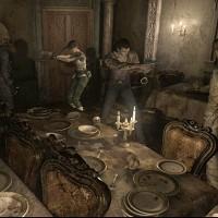 Rebecca et Billy affrontent des zombies dans une salle à manger dans Resident Evil 0