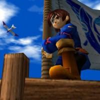 Vyse prend la pose devant le drapeau des Voleurs Bleus dans Skies of Arcadia