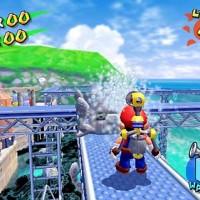 Mario arrose un poulpe avec J.E.T. dans Super Mario Sunshine