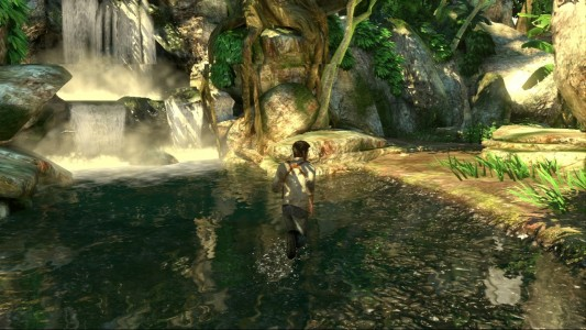 Uncharted Nathan Drake marche dans l'eau dans la jungle