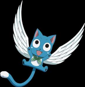 Happy de Fairy Tail sourit et écarte les pattes