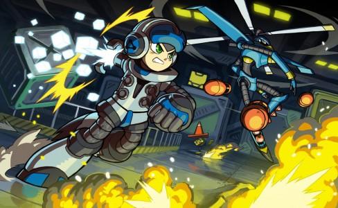 Mighty n°9 artwork Héros qui combat un robot entouré d'explosions