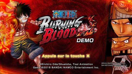 One Piece Burning Blood Démo écran titre