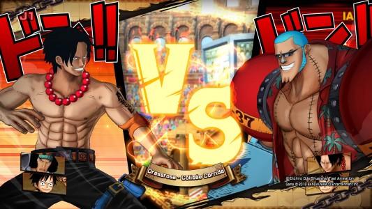 One Piece Burning Blood Démo écran de chargement Ace versus Franky