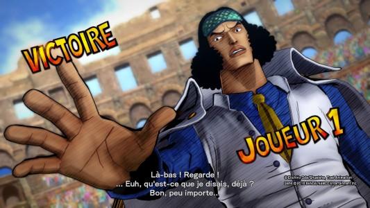 One Piece Burning Blood démo écran de victoire d'Aokiji