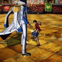 One Piece Burning Blood démo Aokiji fait face à Luffy sur l'arène de Dressrosa