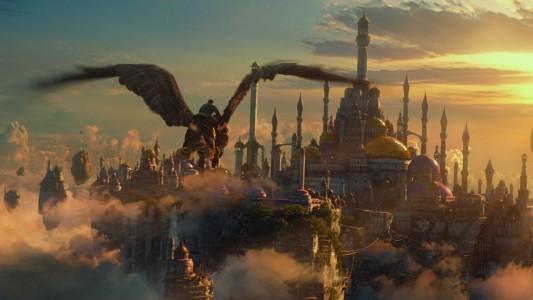 Warcraft - Le commencement Khadgar à dos de griffon arrive à Dalaran