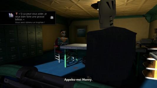 Grim Fandango Remastered Manny discute avec Meché dans son bureau