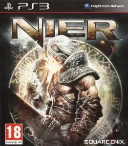 NieR jaquette PlayStation avec NieR, Kainé et Emil dans un pentagramme