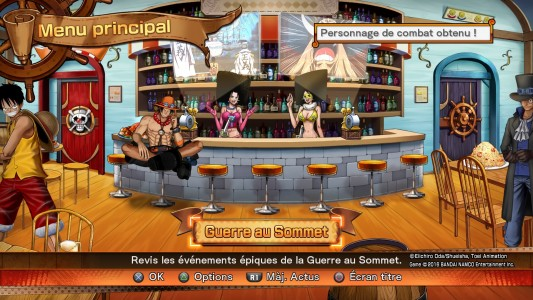 One Piece Burning Blood menu principal guerre au sommet