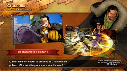 One Piece Burning Blood écran de chargement indications sur Crocodile