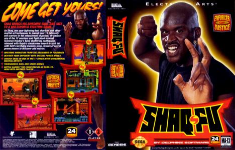 Shaq-Fu MegaDrive jaquette Shaquille O'Neal prend une pose de combat