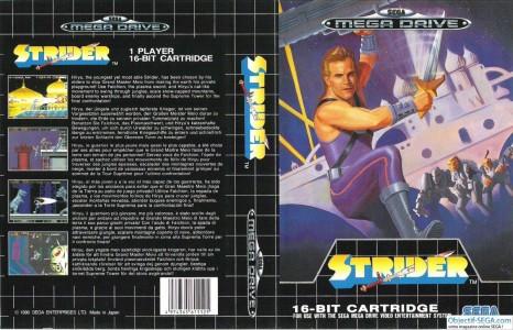 Jaquette Strider MegaDrive héros en collant violet avec une épée