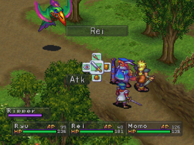 Breath of Fire III PlayStation Ryu Momo et Rei combattent un Ripper