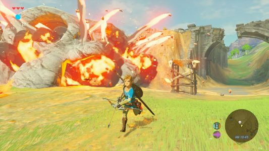 Breath of the Wild Link fuit devant une explosion