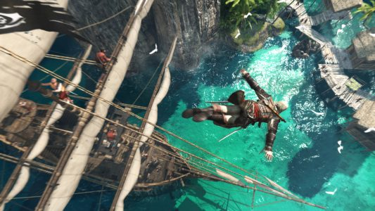 Assassin's Creed Black Flag Edward plonge du haut du mat