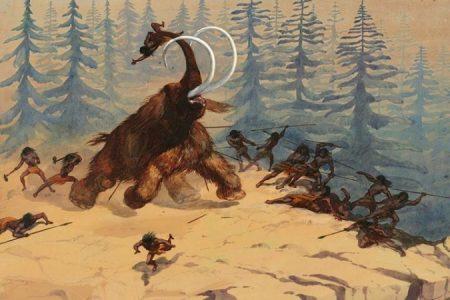 Attaque d'un Mammouth sur des chasseurs