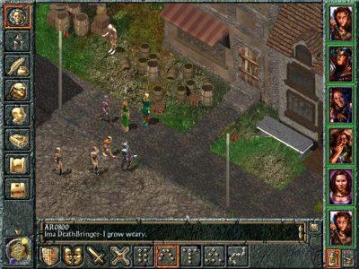 Baldur's Gate les héros sont devant une maison avec des squelettes