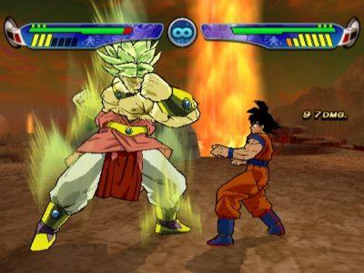 Dragon Ball Budokai 3 Broly frappe Goku