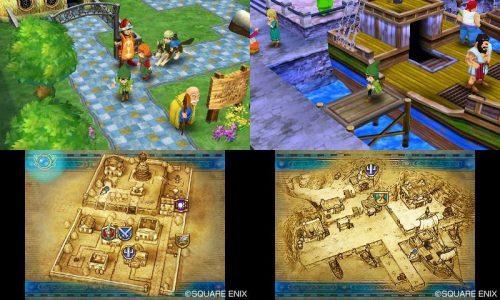 Dragon Quest VII double écran 3DS avec carte en bas