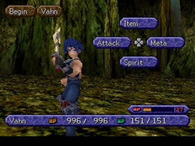 Legend of Legaia Vahn et son menu de combat