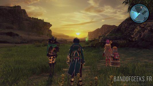Star Ocean - Integrity and Faithlessness Fidel Fiore Rélia et Miki sont sur la plaine devant un coucher de soleil