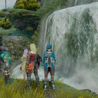 Star Ocean - Integrity and Faithlessness Fidel Fiore Miki Victor devant une cascade