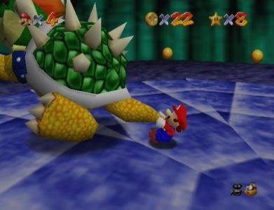 Super Mario 64 Mario fait tourner Bowser