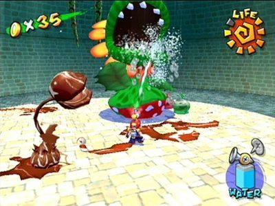 Super Mario Sunshine Mario arrose une Mega-Pirhana