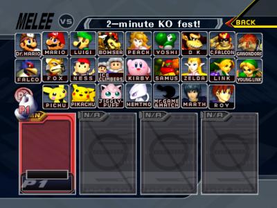 Super Smash Bros Melee écran sélection personnages