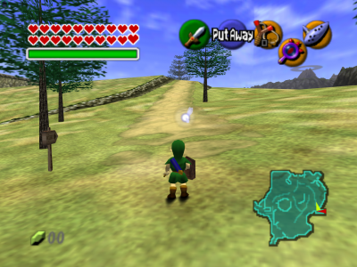 The Legend of Zelda Ocarina of Time Link sur la plaine d'Hyrule