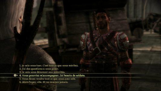 Dragon Age Origins choix de dialogue entre le héros et un garde