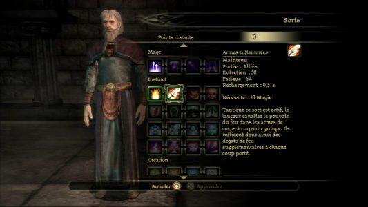 Dragon Age Origins écran sélection sorts du mage