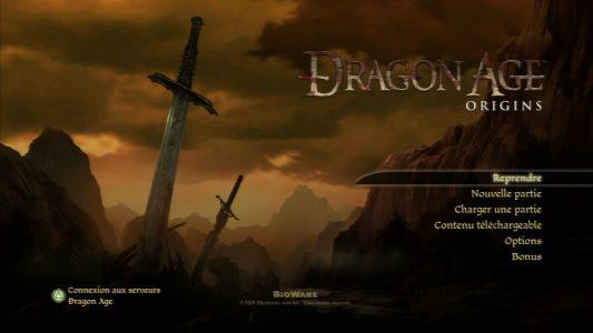 Dragon Age Origins écran titre version PlayStation 3