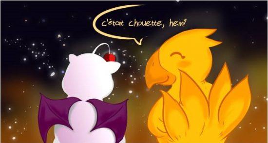 TFGA fin Mog et Chocobo qui discutent sur fond de nuit étoilée