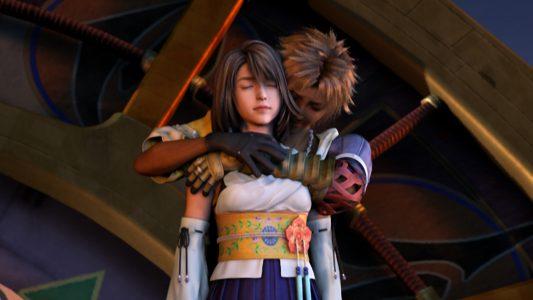 Final Fantasy X Yuna et Tidus se font un câlin.