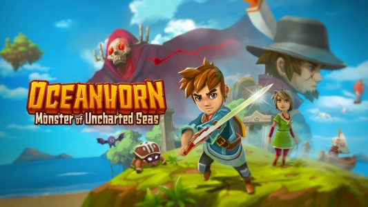 Oceanhorn Monster of Uncharted Seas logo et personnages principaux
