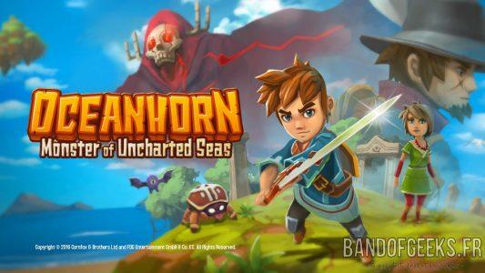 Oceanhorn - Monster of Uncharted Seas logo et personnages principaux prennent la pose